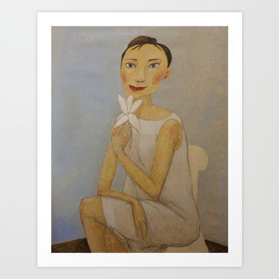 LADY WITH MAGNOLIA Art Print