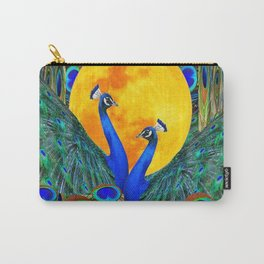 FULL GOLDEN MOON BLUE PEACOCK  FANTASY ART Carry-All Pouch