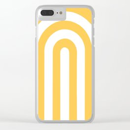 yellow and white retro u stripes Clear iPhone Case