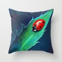 ladybug Throw Pillows featuring Ladybug by Freeminds