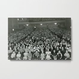 One-thousand Bizzaro Masked Mickeys watching cartoons in theatre black and white photograph Metal Print