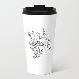 Cosmos Flowers Ink Drawing Travel Mug