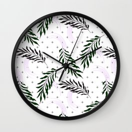 Crosses and leaves Wall Clock