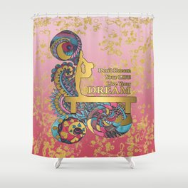 Gymnastics- Live your Dream- In Pink Gradient and Gold Watercolor Doodle Design Shower Curtain