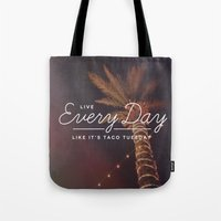 taco Tote Bags featuring Taco Tuesday by Zeke Tucker