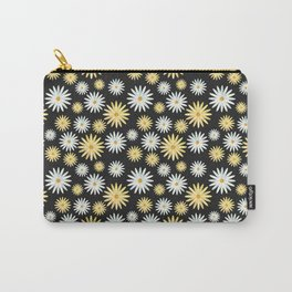 Watecolor Daisies Pattern   Black Carry-All Pouch