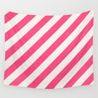 hot pink Wall Tapestries featuring diagonal - hot pink  by her art