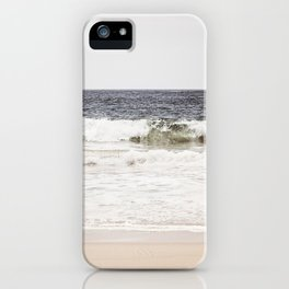Neutral Ocean Landscape Photography, Grey Seascape Art, Gray Sea Beach Photo, Coastal Print iPhone Case