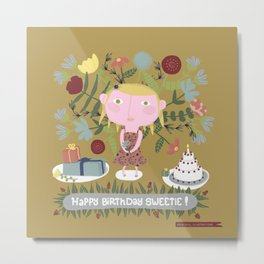 Alice has a birthday - Postcard - Art print Metal Print