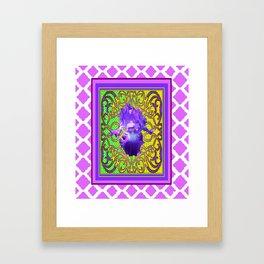 Decorative Purple IrisoOrnate Green Optical Art Framed Art Print