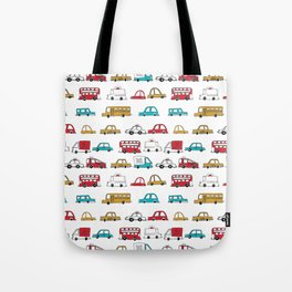 Cars trucks buses city highway transportation illustration cute kids room gifts Tote Bag