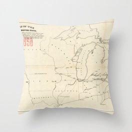 Railroad & The Northwestern States in 1850 Throw Pillow