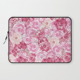 Hand painted white blush pink  coral floral Laptop Sleeve