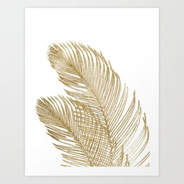 Palm Leaves Finesse Line Art with Gold Foil #2 #minimal #decor #art #society6 Art Print