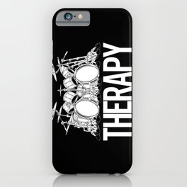 Drummers Therapy Drum Set Cartoon Illustration iPhone Case