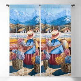 Peruvian Village Amid the Poppy and Calla Lily Fields in the Andes Mountains Blackout Curtain