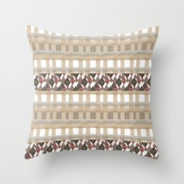 Boho . Beige woven textiles . Throw Pillow