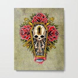 trad coffin w/roses Metal Print