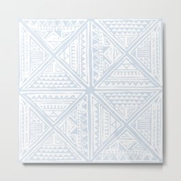 Simply Tribal Tile in Sky Blue on Lunar Gray Metal Print