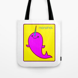 Retro 1970s Pop Art Narwhal Cute Narwhal Picture Tote Bag