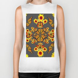 GREY COLOR SUNFLOWERS & MONARCH BUTTERFLY ABSTRACT Biker Tank