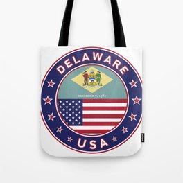 Delaware, Delaware t-shirt, Delaware sticker, circle, Delaware flag, white bg Tote Bag