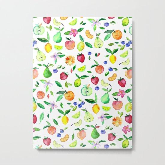 Fresh Fruit - a watercolor pattern Metal Print