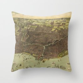 Vintage Pictorial Map of Chicago IL (1893) Throw Pillow
