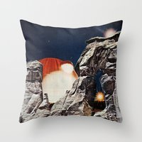 queens of the stone age Throw Pillows featuring Stone Age by Collage Calamity