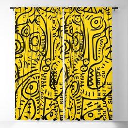 Yellow Street Art Graffiti Train Ticket Blackout Curtain