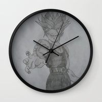 dragonball Wall Clocks featuring Dragonball Z Trunks Sketch by bernardtime