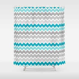 Turquoise Teal Blue Gray Chevron Shower Curtain