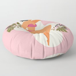 Woman sleeping on a pad flower Floor Pillow