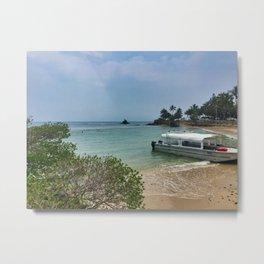 Noumea Beach Boat Metal Print