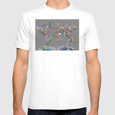floral skull world map 1 Mens Fitted Tee MEDIUM White