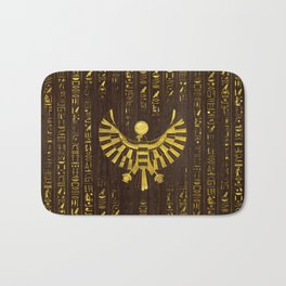 Golden Egyptian Horus Falcon and hieroglyphics on wood Bath Mat