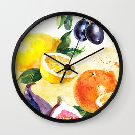 Fruits in Watercolor Wall Clock