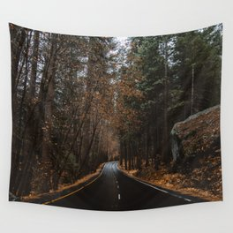 AUTUMN FOREST ROAD Wall Tapestry