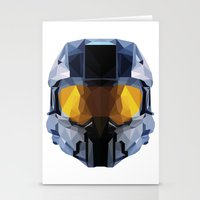 master chief Stationery Cards featuring Geometric Master Chief - Halo  by Something a Little Awesome