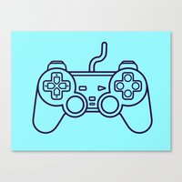 playstation Canvas Prints featuring Playstation 1 Controller - Retro Style! by Rikard Röhr