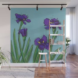 Irises on Blue Wall Mural