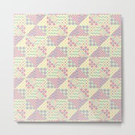 Yellow, Green & Pink Patchwork Pattern with Triangles Metal Print