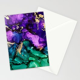 Mardi Gras Alcohol Ink Artwork Stationery Cards