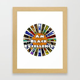 I am Black Excellence African Fabric Collage Framed Art Print