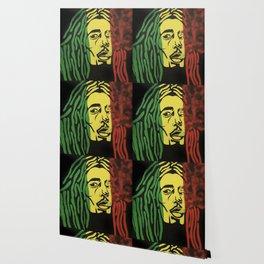 rasta man,vibration,jamaica,reggae,music,smoke,ganja,weed,pop art,portrait,wall mural,wall art,paint Wallpaper