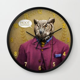 "Mr. Owl says: ""HOOT Happens!"" Wall Clock"