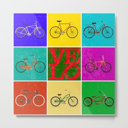 Velo Love – 8 Bikes PoP – June 12th – 200th Birthday of the Bicycle Metal Print