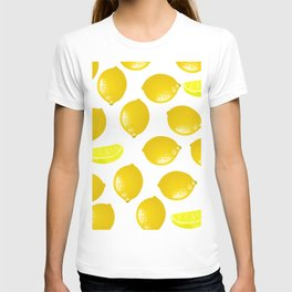 Lemon Pattern Home Decor Wall Hanging Art Print Modern Graphic Design Yellow White Interior T-shirt
