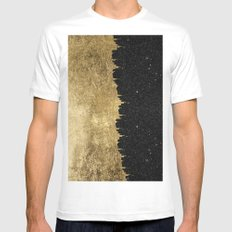 Faux Gold & Black Starry Night Brushstrokes White Mens Fitted Tee MEDIUM