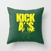 ass Throw Pillows featuring KICK ASS by justjeff